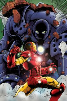 Iron Man battles the Iron Monger
